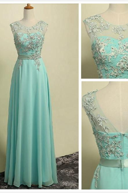 Mint Green A-line Lace Appliqué Chiffon Long Prom Dress with Illusion Sweetheart Neckline