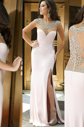 High Quality Prom Dress WHITE Mermiad Prom Dress Satin Prom Dress O-Neck Prom Dress Beading Prom Dress