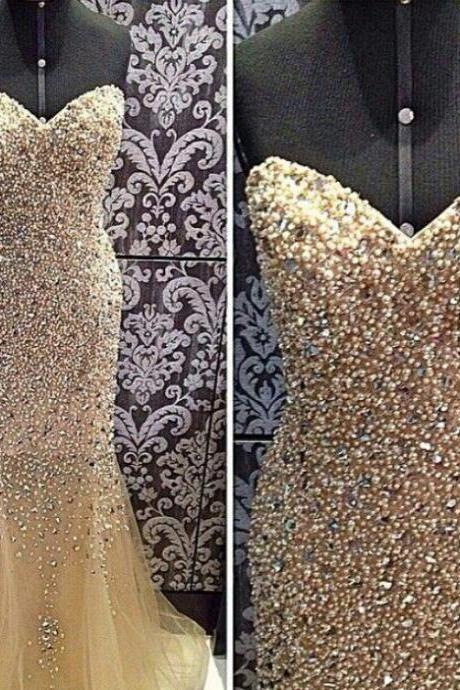 Gorgeous Champagne Mermaid Prom Dress, Sweetheart Evening Dresses, With Beading And Pearls
