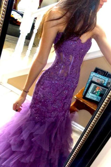 Newest Beading Appliques Prom Dresses, The Charming Evening Dresses, Prom Dresses, Sweetheart Real Made Prom Dresses,