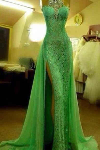Custom Made Crystal Evening Dresses ,Green High Neck Lace Prom Dresses, With Slit Sexy Mermaid Crystal Beaded Prom Dresses