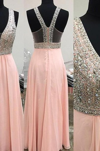 High Quality A-LINE Chiffon Sequined Prom Dres,s V-Neck Beading Eveing Dresses, Backless PINK PROM DRESS ,LONG DRESSES, PARTY DRESSES