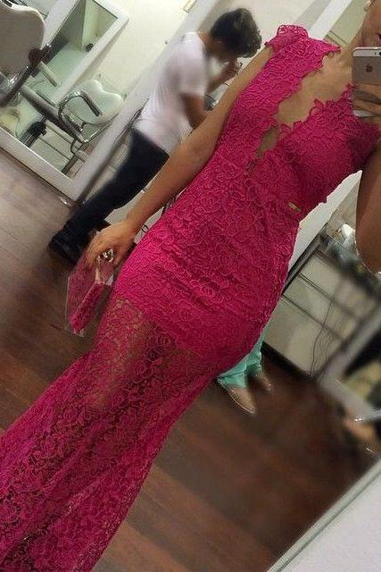 Long Prom Dress, Lace Prom Dress, Cap Sleeve Prom Dress, Formal Prom Dress ,Rose Red Prom Dress, Pretty Prom Dress