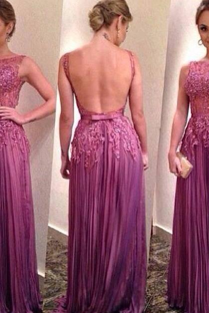 New Design Backless ,Long Prom Dresses, 2016 Scoop Neck A-Line Quinceanera Dresses, Appliques Beaded Pleated Chiffon fashion dresses,Vestido De Festa Party Dress, Formal Dresses