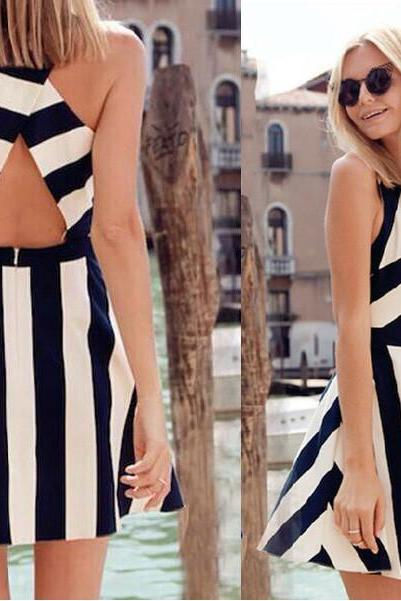 BLACK AND WHITE STRIPED V-NECK STITCHING DRESS 3985CU