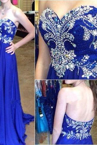 High Quality Prom Dress, Royal Blue A-Line Prom Dress ,Chiffon Prom Dress ,Beading Sweetheart Prom Dress, Brading Prom Dress ,EVEING DRESSES ,PARTY DRESSES