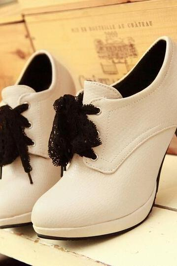 Lace Bowknot Round Head Contracted High Heels