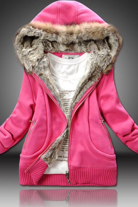 Fashion pure color cotton hooded jacket 6150845