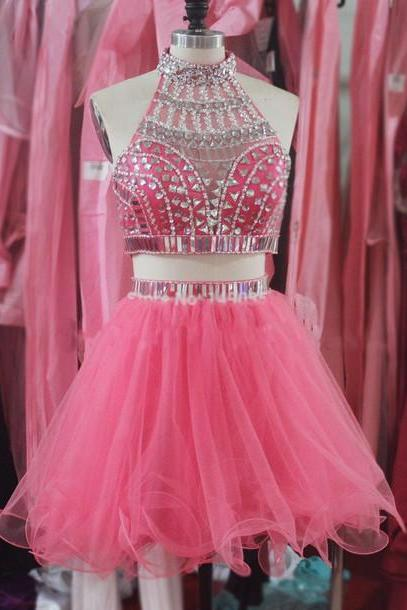 High Quality New Style Two Piece Short Prom Dresses Beading Homecoming Dresses Party Dresses Homecoming Dresses Graduation Dresses On Sale