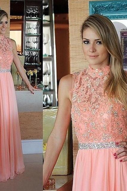 Custom Made H Floor Length Long Wedding Party Dress ,Lace Mermaid Prom Dress Bridesmaid Dresses Cheap Prom Dresses 2015 Prom Dressigh Neck Peach Chiffon Sleeveless Beaded A Line
