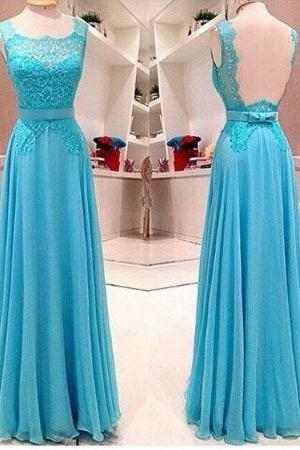 Custom Made Sleeveless Lace And Chiffon Long Blue Prom Dress Cheap Prom Dresses 2017 Prom Dress