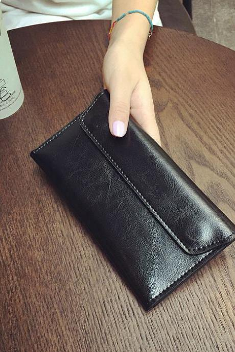 The new ultra-thin fashion leather men and women long wallet