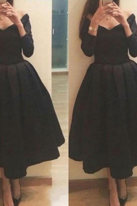 Pretty Off Shoulder Black Tea Length Formal Dresses Evening Dresses Black Prom Dresses Dinner Dresses