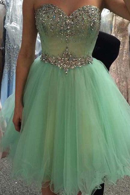 Pretty Green Tulle Short Beadings Sparkle Graduation Dresses 2015 Short Prom Dresses Homecoming Dresses 2015 Formal Dresses