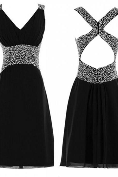 Beading Homecoming Dresses,V-Neck Graduation Dresses,Homecoming Dress,Short/Mini Chiffon Homecoming Dress