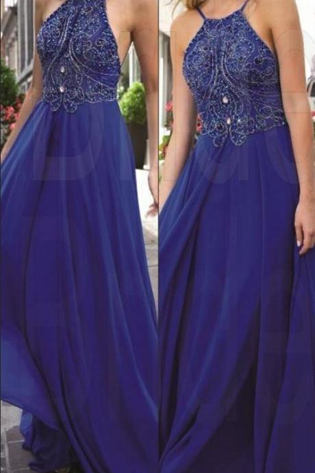 New Design Royal Blue Beading Prom Dresses, The Charming Evening Dresses, Prom Dresses, Real Made Prom Dresses On Sale
