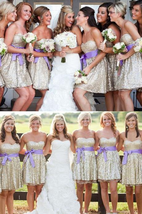 Charming Beading Bridesmaid Dresses Sweetheart Short Bridesmaid Dresses Bridesmaid Dress With Sashes Bridesmaid Dresses