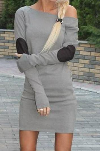 Sexy Long Sleeve Mini Straight Dress (3 Colors)