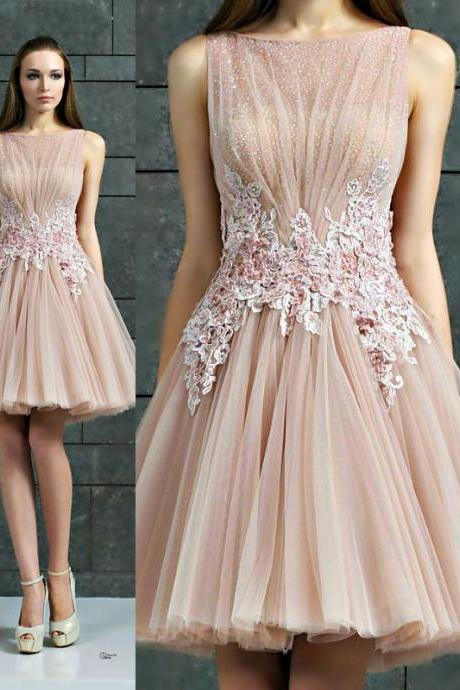 A-Line Evening Dress,Tulle Evening Dress,Short Evening Dress,Appliques Evening Dress