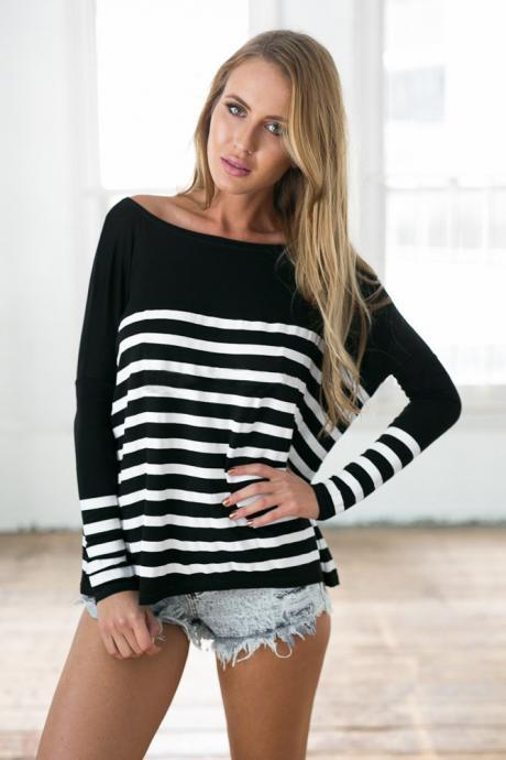 Fashion splicing stripes round neck T-shirt 8416351
