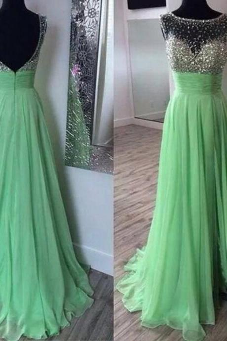 Boat Neck Sleeveless Chiffon Dress With Sashes A Line Floor Length Long Apple Green Prom Dress
