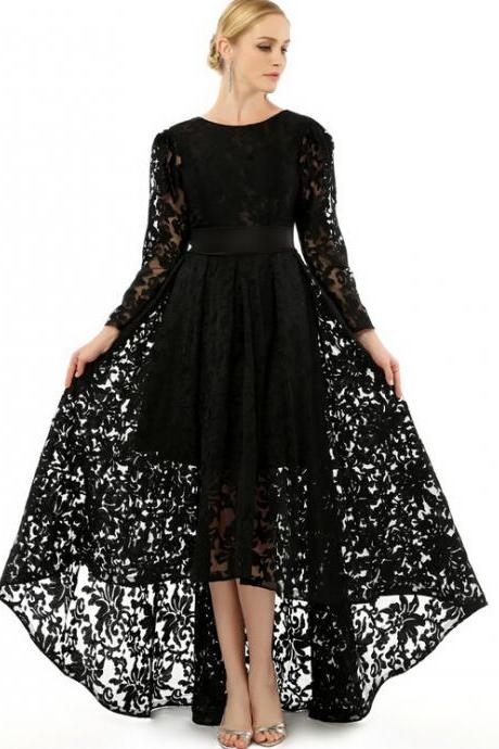Black Lace Long Sleeve Evening Dress with Sheer Scoop Neckline Appliques High Low Formal Party Gowns Long Prom Dresses