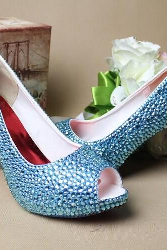 Blue Rhinestone Wedding Bridal Shoes fashion Ladies Dress Shoes Party Prom Crystal Pumps Bridesmaid Shoes