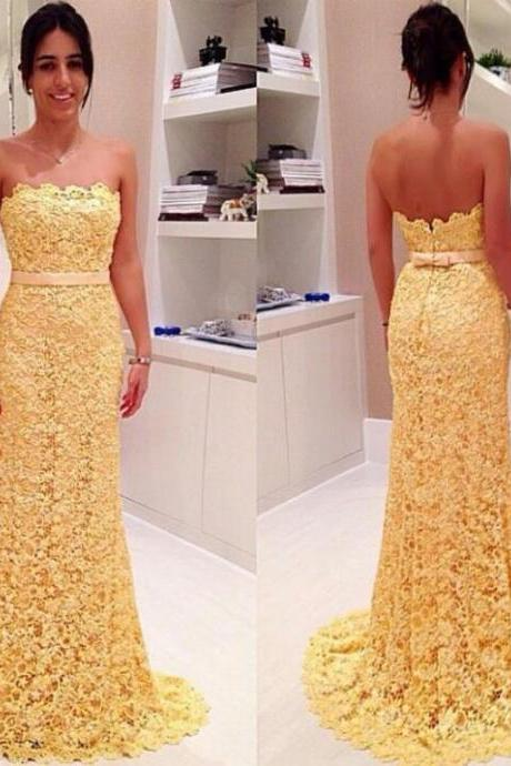 Strapless Yellow Lace Mermaid Long Prom Dress LACE EVENING DRESSES Sweetheart Bridesmaid Dresses