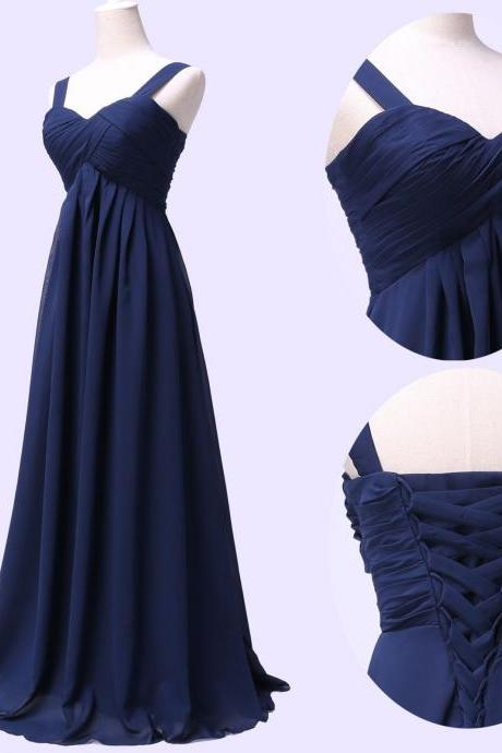 Spaghetti Straps Navy Blue Chiffon Bridesmaid Dress,Floor Length A Line Dark Blue Bridesmaid Dresses,Elegant Long Cheap Prom Dresses Party Evening Gown