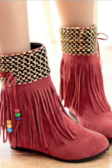 Sexy fashion tassel pure color boots 8216085