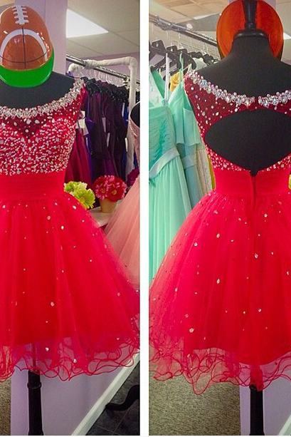2017 New Fashion Women Sweet Beading Ball Gown Mini Homecoming Dress For Party