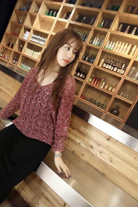 Red Knitting Sweater With Black Dress Autumn Women's Dresses