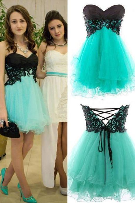 Cute Appliques And Tulle Prom Dresses, Short/Mini Prom Dresses, Graduation Dresses, A-Line Prom Dresses, Charming Lace-Up Homecoming Dresses,Homecoming Dresses,Prom