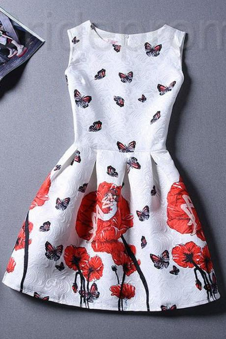 Short Retro Printing Patterns Women's Clothing Sleeveless Casual Dress YHD3-2 Size S M L XL