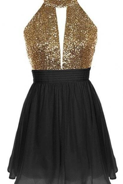 Short Black Chiffon Party Dress Featuring Gold Sequin Halter Neck Bodice with Cutout Detailing