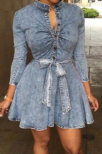 Women Button Closure Long Sleeve Denim Dress