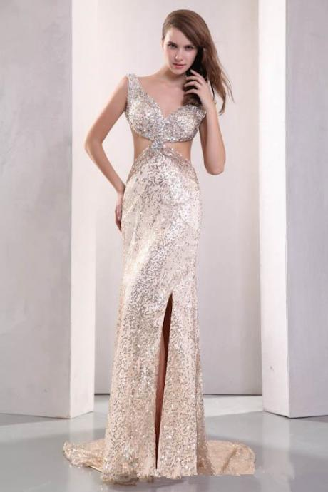 Plunging V Neck Champagne Beads Sequined Homecoming dresses ,2016 Front Split Backless ,Crystal Formal party Dresses ,Evening Gowns Prom Long