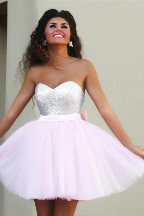 2016 Short Pink Homecoming Dresses, Sequined Top Sweetheart with Cute Bow Sash Backless ,MiNi Prom Party Dresses,Homecoming dresses, mother dress,Quinceanera Dresses