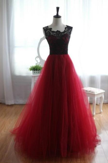 Simple Fashion Tulle and Lace Burgundy Formal Prom Dress With Beading,Burgundy Long Prom Gowns,Evening Dress 2015,Dress For Prom,Charming Burgundy Graduation Dress/Party Dress,