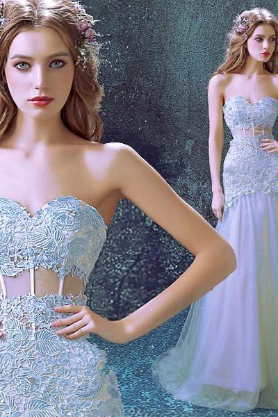 Royal blue lace bridal wedding dress custom 2015 new long section fishtail style Sweetheart Pageant wedding dress