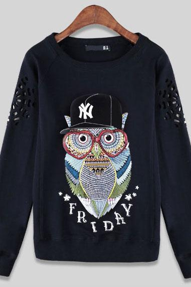 Owl Pattern Female Hollow Sleeve Loose Top