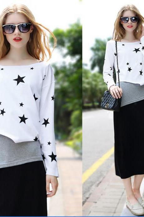 Printing Black And White Three Pieces Casual Long Sleeve Dress