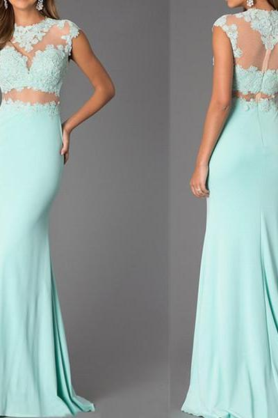 Custom Made Two-Piece Mint Lace High Neck Bare-Midriff Floor Length Prom Dress, Handmade Cheap Prom Dresses , Prom Dresses