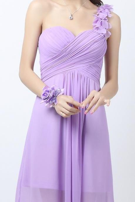 Custom Made Bridesmaid Dresses,Gown - One Shoulder Short Dress ,Plain Chiffon Dress , Custom Colors Available