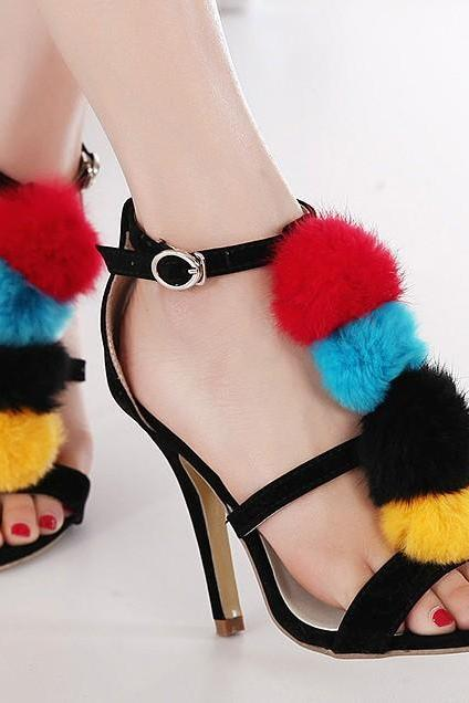 Pom Pom Embellished Open-toe Heels with Ankle Straps