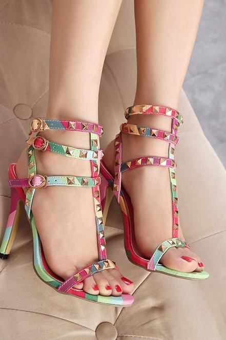 Sexy Woman Rivet Color High-Heeled Sandals