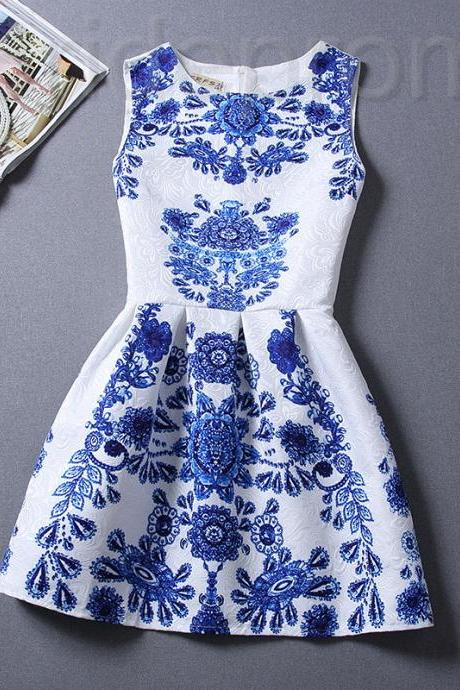 Short Retro Printing Patterns Women's Clothing Sleeveless Casual Dress YHD3-8 Size S M L XL