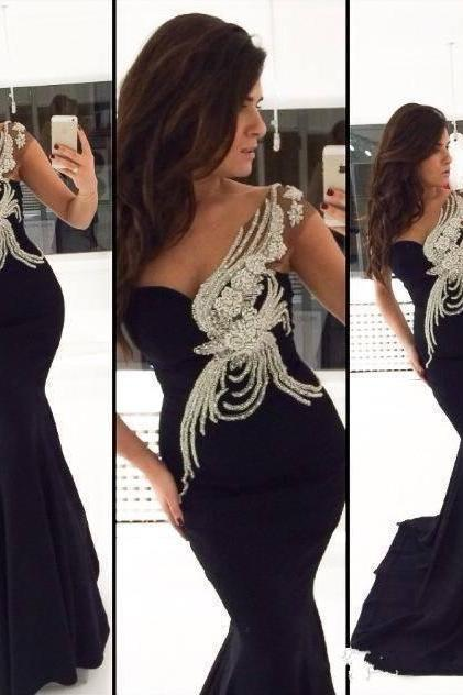 Pure Handmade New Design Black Rhinestone Long Mermaid Formal Women Evening Dresses Red Carpet