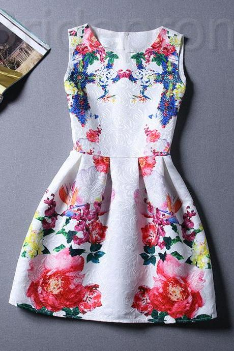Short Retro Printing Patterns Women's Clothing Sleeveless Casual Dress YHD3-10 Size S M L XL