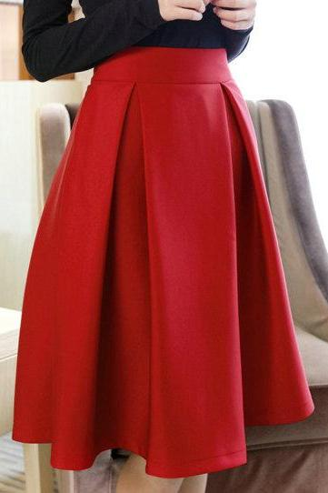 High Quality Cute Women Autumn/Winter Skirts, Burgundy Skirts, Red Skirts, Women Skirts